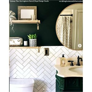 "Pochoir Subway Tile Herringtone 19"" X 17"""